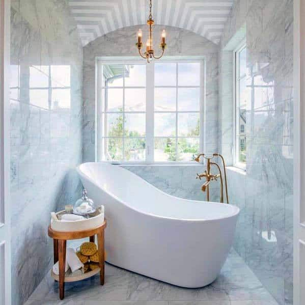 Bathtub Marble Floors And Walls White Bathroom Ideas