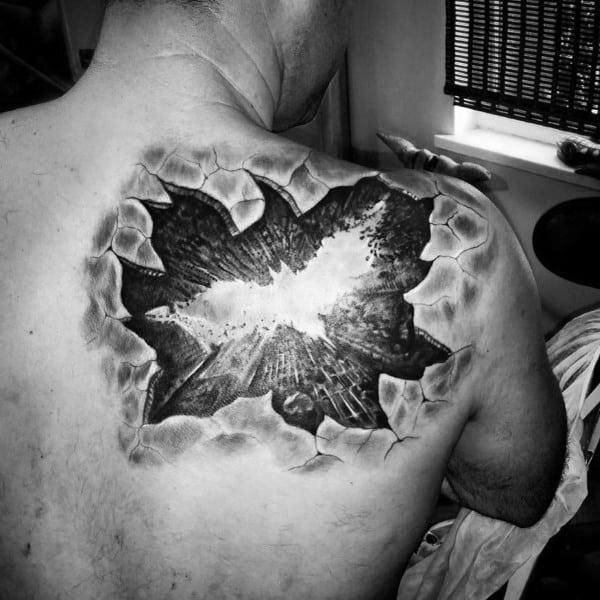 Batman Back Mens Optical Illusion Tattoo