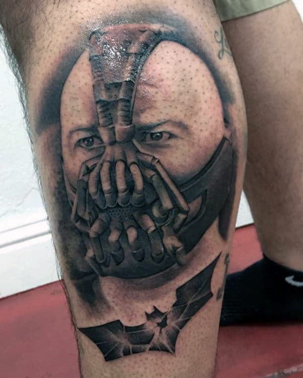 Batman Bane Guys Leg Tattoo Design Inspiration