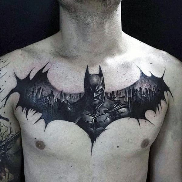 Batman Guys Tattoo Chest Black Ink Design