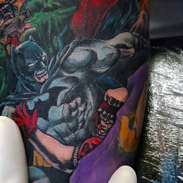 Batman In Action Mens Traditional Bicep Tattoo Design With Full Color
