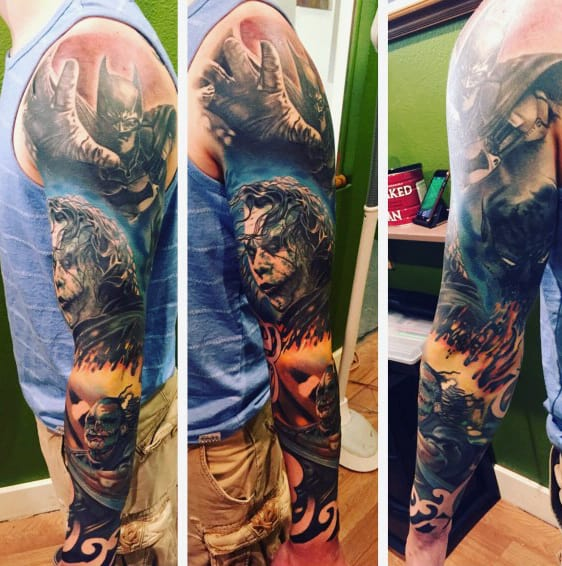 Batman Joker Crazy Male Full Sleeve Tattoo Ideas