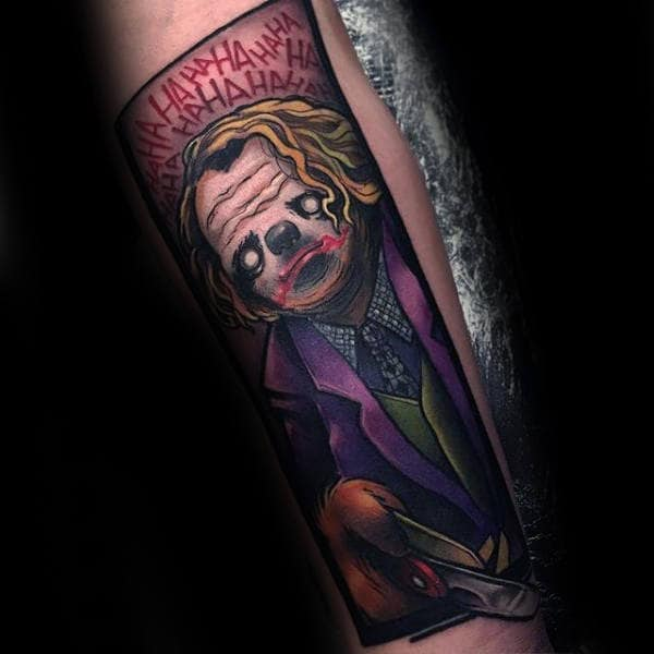 Batman Joker Sloth Forearm Tattoos For Men