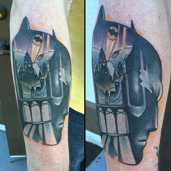 Batman Portrait With Symbol Mens Outer Forearm Tattoos