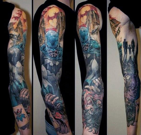 Batman Sleeve Male Tattoo
