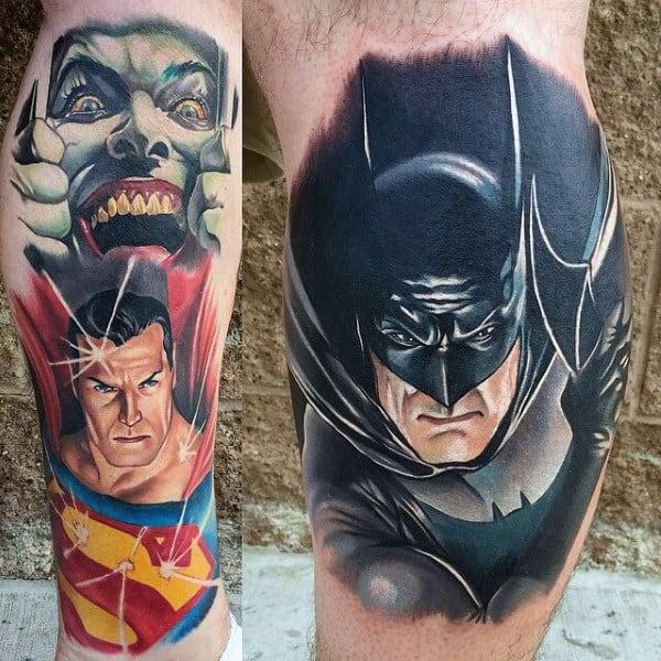 Batman Superhero Modern Male Leg Calf Tattoos