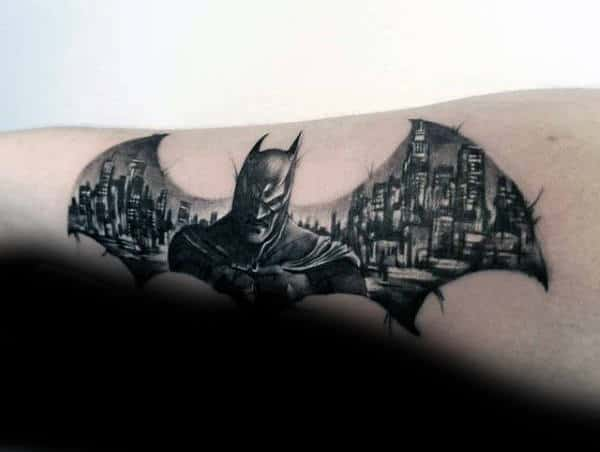 Batman Symbol With City Skyline Mens Forearm Tattoos