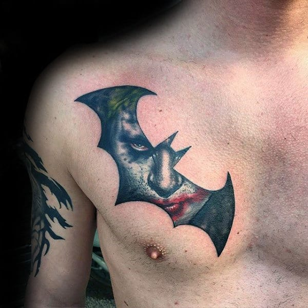 Batman Symbol With Joker Mens Upper Chest Tattoos