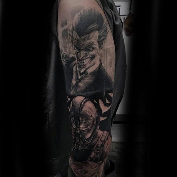 Batman Themed Guys Dc Comics Bane And Joker Full Arm Sleeve Tattoo