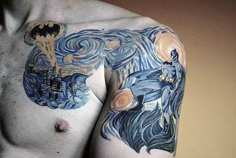 Batman Themed Starry Night Mens Chest And Arm Tattoo