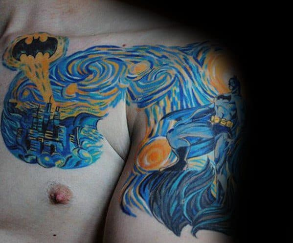 Batman Themed Vincent Van Gogh Painting Mens Chest And Arm Tattoo