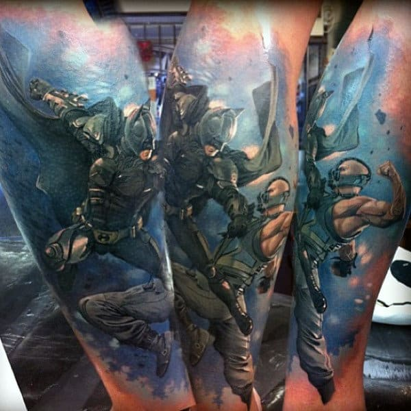Batman Vs Bane Guys Amazing Leg Tattoos