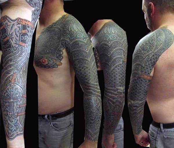 Battle Armor Extreme Male Sleeve Tattoo Design Ideas