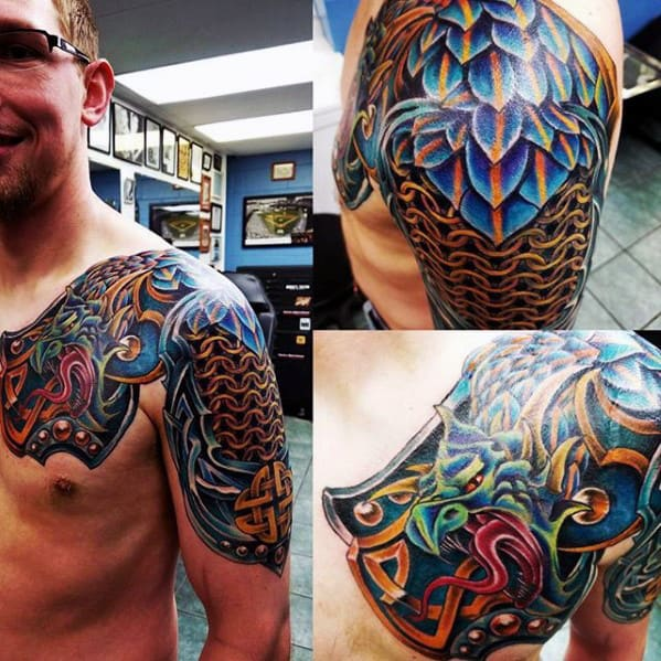 Battle Armor Guys Celtic Dragon Shoulder And Arm Tattoo