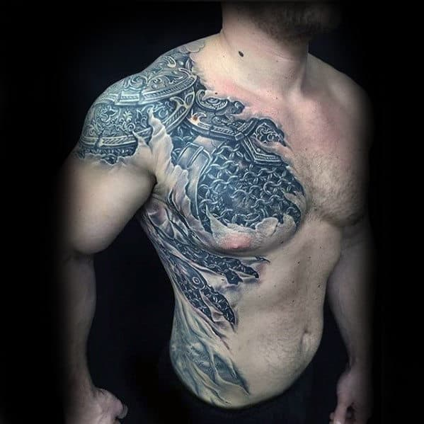 Battle Armor Mens 3d Plate Tattoo On Chest And Shoulder