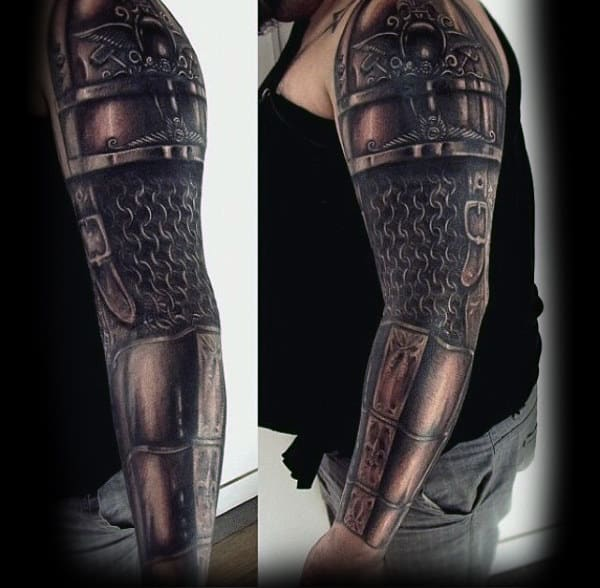 Battle Armor Mens Detailed Full Sleeve Tattoos With 3d Design
