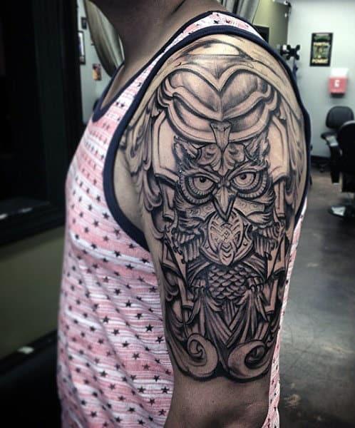 Battle Armor Owl Mens Nice Half Sleeve Tattoo Ideas
