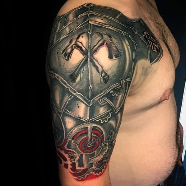 Battle Armor Plate Crazy Male Half Sleeve Tattoos