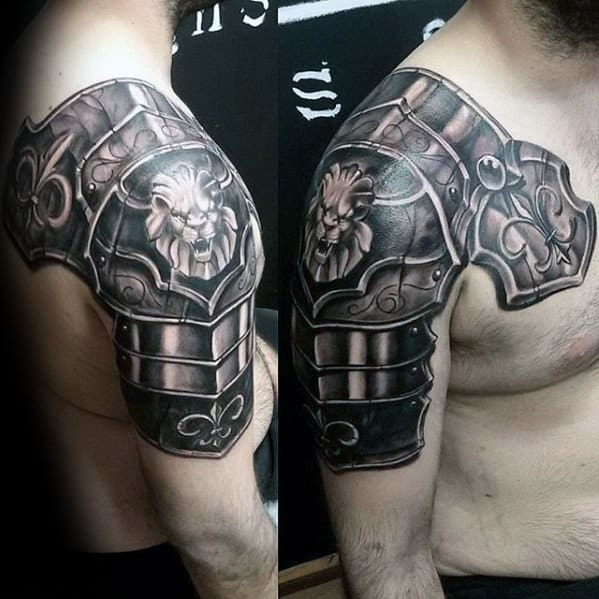 Battle Armor Plate Lion Shoulder Mens Tattoos