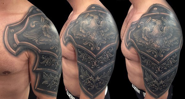 Battle Plate Armor Guys Tattoo Cover Up Half Sleeve
