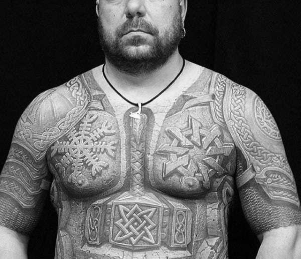 Battle Plate Armor Mens Celtic Half Sleeve Tattoos