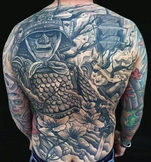 Battle Warrior Crazy Male Full Back Tattoo Inspiration