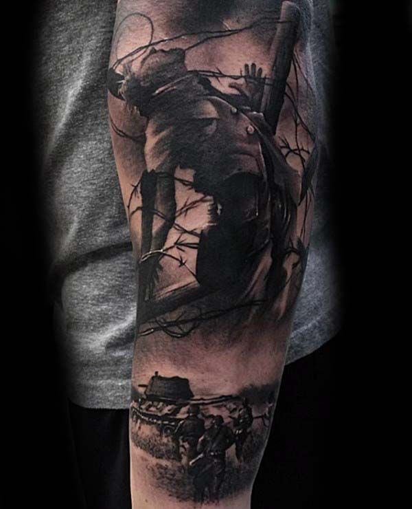 Battlefield Mens Extreme Shaded Realistic Forearm Tattoo Design