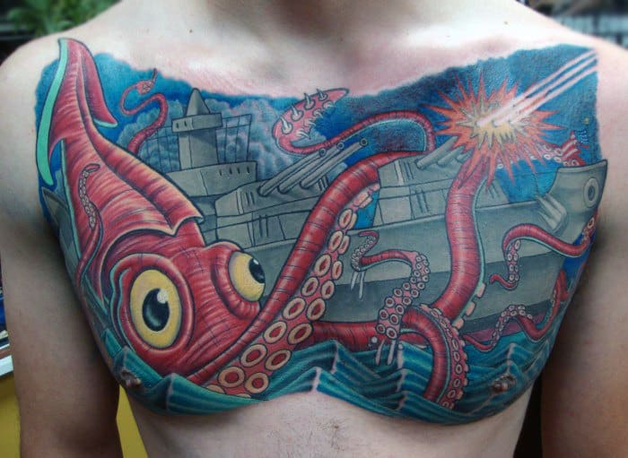 Battleship Giant Squid Tattoo For Men On Chest