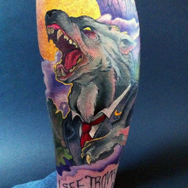 Bawling Werewolf With Tie And Coat Tattoo Mens Sleeves