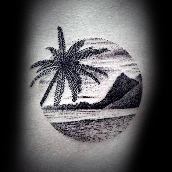 Beach Circle Detailed Arm Small Unique Tattoos For Males