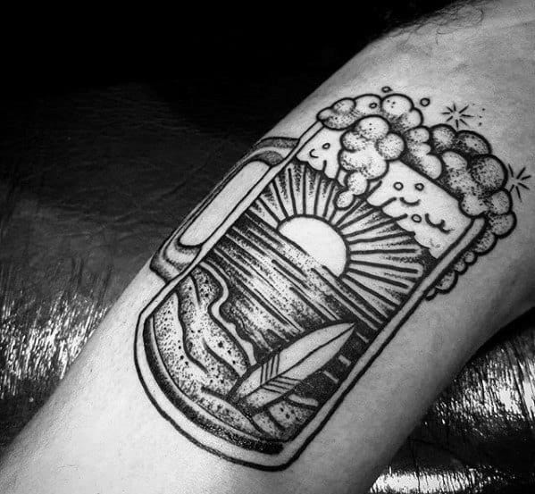 Beach Landscape Beer Tattoo Designs For Males