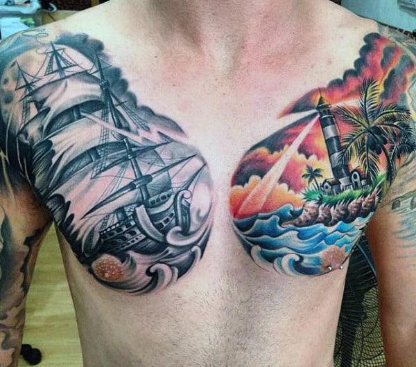 Beach Lighthouse Tattoo For Men On Chest
