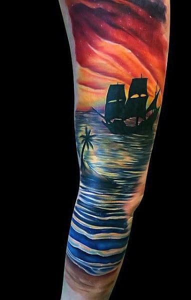 Beach Sand Tattoo Designs On Males Sleeve