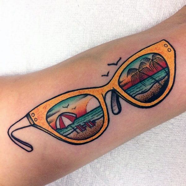 Beach Scene Glasses Mens Arm Tattoo