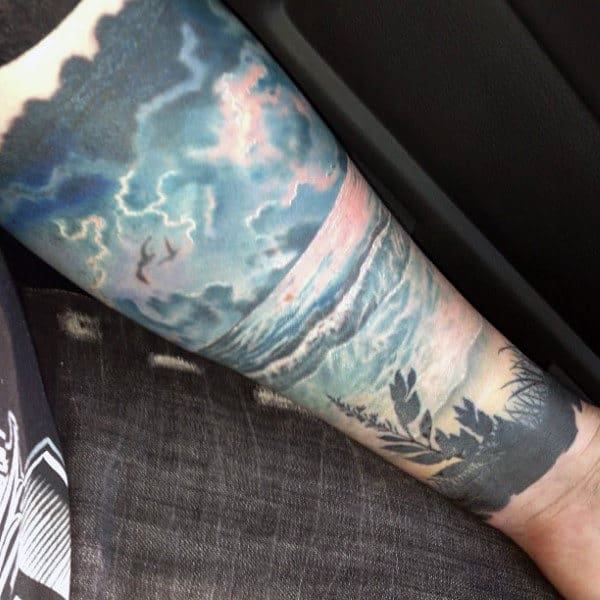 Beach Shore Superbolt Lightning Tattoo Ideas For Men On Forearm