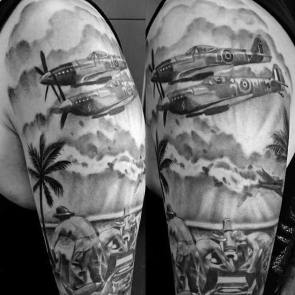 Beach Ww2 Mens Half Sleeve Tattoos