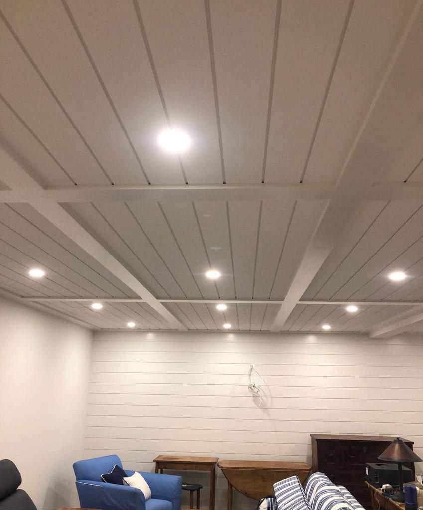 beadboard low basement ceiling ideas kminteriors2063