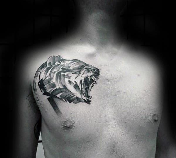 Bear Brush Stroke Upper Chest Guys Tattoos