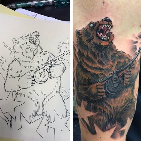 Bear Firing Gun Tattoo For Men