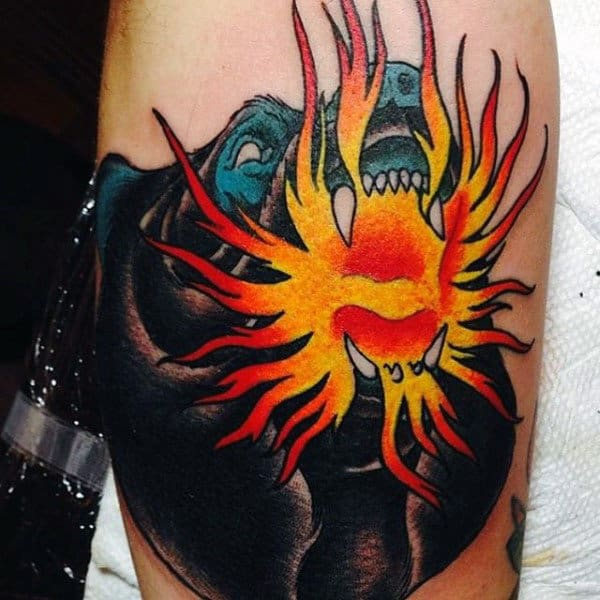 Bear Flame Tattoos On Bicep For Men