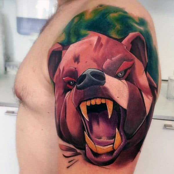 Bear Graffiti Tattoo On Mans Upper Arm