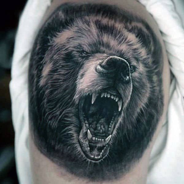 Bear Growling Awesome Mens Upper Arm Tattoo With Shaded Black And White Ink