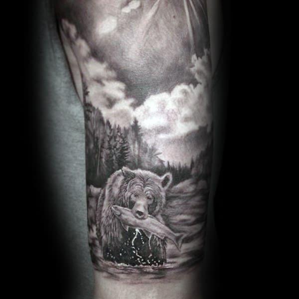 Bear Hunting Fish Landscape Male Shaded Arm Tattoos