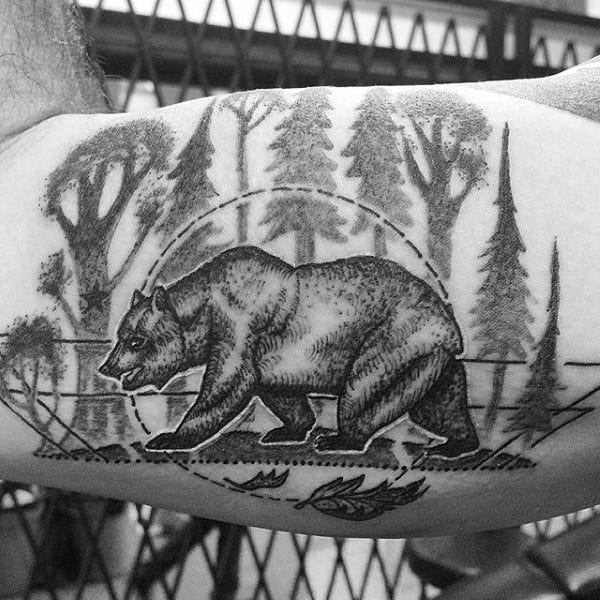 Bear In Forest Mens California Bicep Tattoo