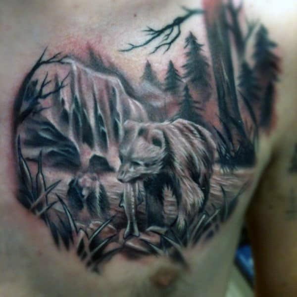 Bear In Forest Waterfall Mens Chest Tattoos