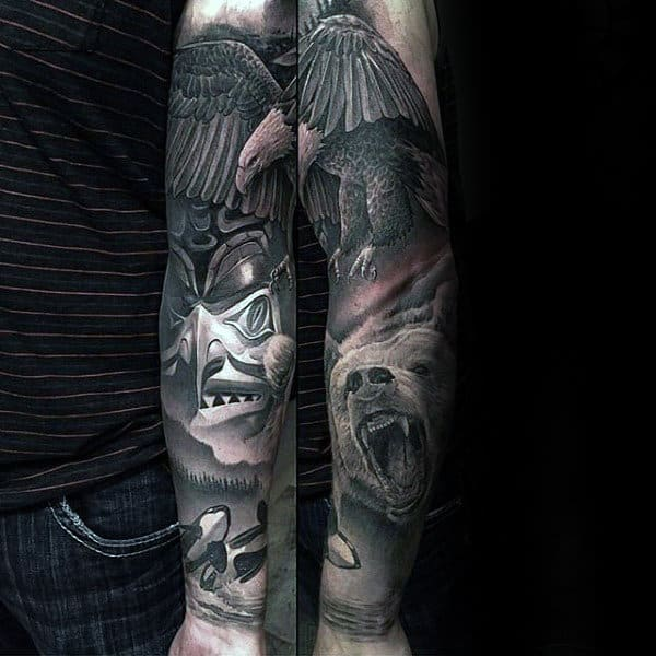 Bear Inner Forearm Sleeve Tattoo For Males