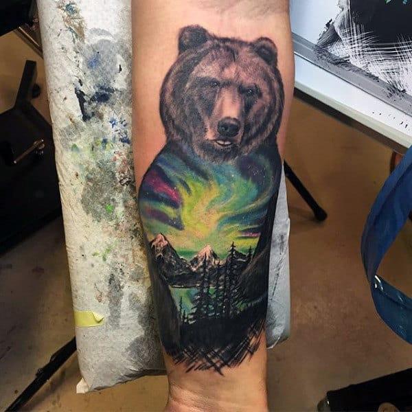 Bear Northern Lights Outdoors Mens Inner Forearm Tattoos