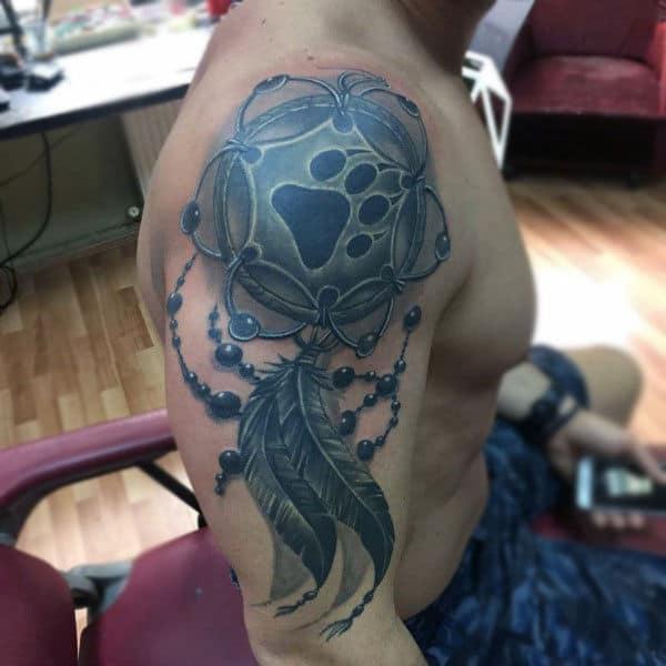 Bear Paw Print Dreamcatcher Upper Arm Guys Tattoos