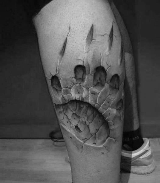 Bear Paw With Claw Guys 3d Leg Tattoo