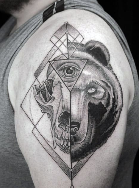 Bear Skull Eye Of Providence Guys Arm Tattoo